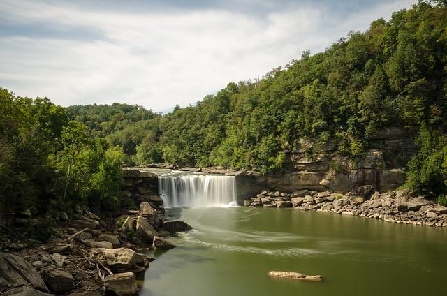 Usa, America, Kentucky, Waterfall, Cumberland If