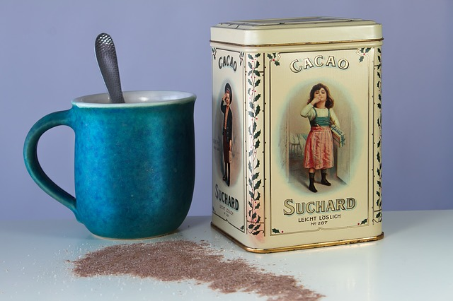 Cocoa, Hot Drink, Soluble, Cup, Tin Can, Old, Antique