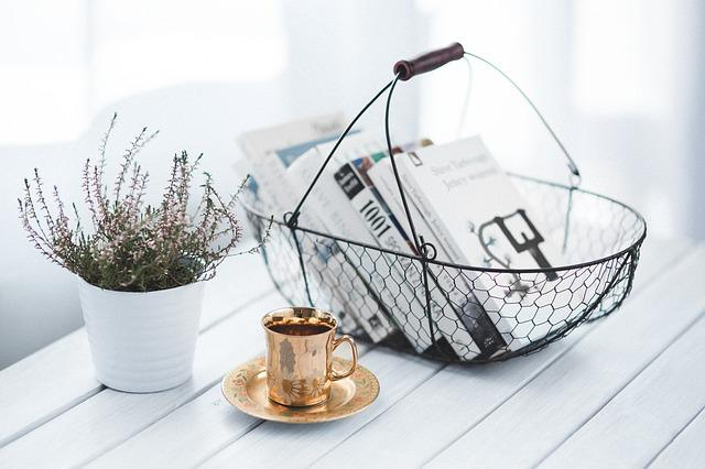 Golden, Cup, Coffee, Basket, Books, Book, Read, Reading