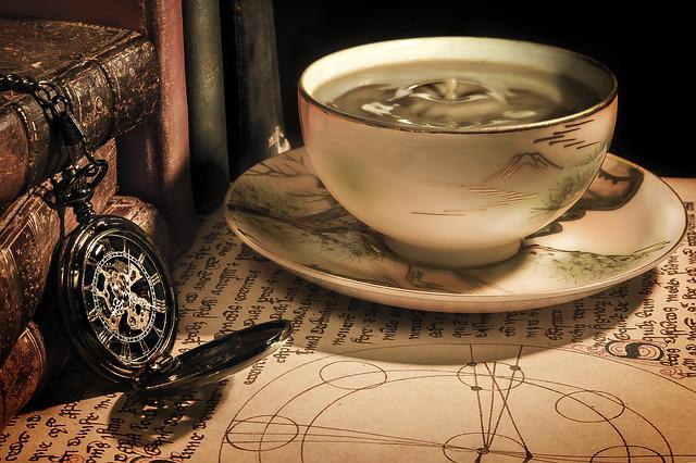 Coffee, Cup, Drink, Pocket Watch, Table, Time