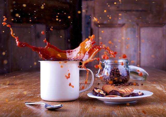 Coffee, Cup, Splash, Liquid, Coffee Beans, Cookies