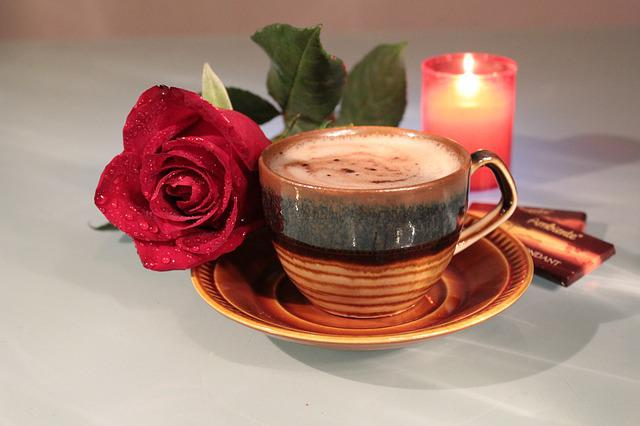 Rose, Coffee, Cup, Foam, Drink, Candle
