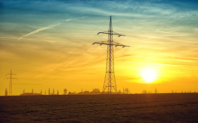 Power Lines, Sunset, Fields, Twilight, Sun, Current