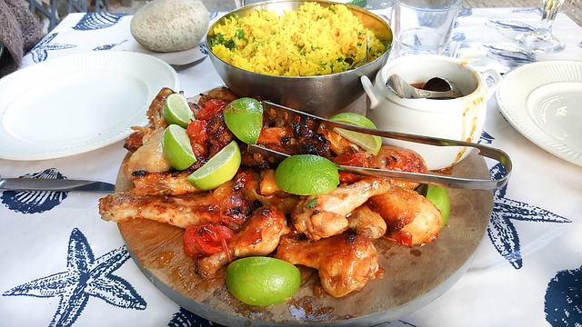 Indian, Meal, Food, Chicken Leg, Rice, Curry, Supper