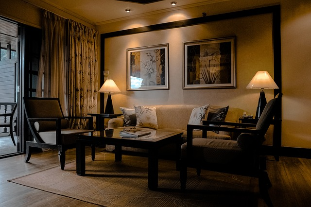 Room, Inside, Couch, Lampshades, Frame, Curtain, Glass
