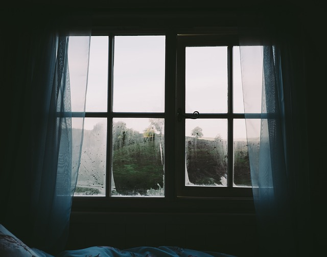 Bedroom, Window, Curtains, Dark