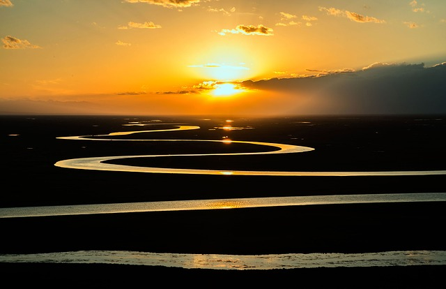 Prairie, River, Stream, Curved, Sunset, Sunrise, Nature