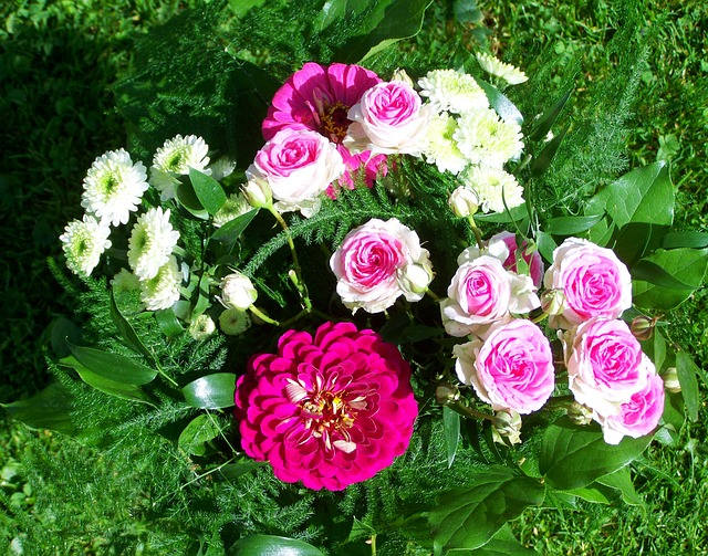 Bunch Of Flowers, Pink And White Flowers, Cut Flower