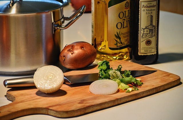 Cooking, Onion, Olive Oil, Cut, Potato, Vinegar