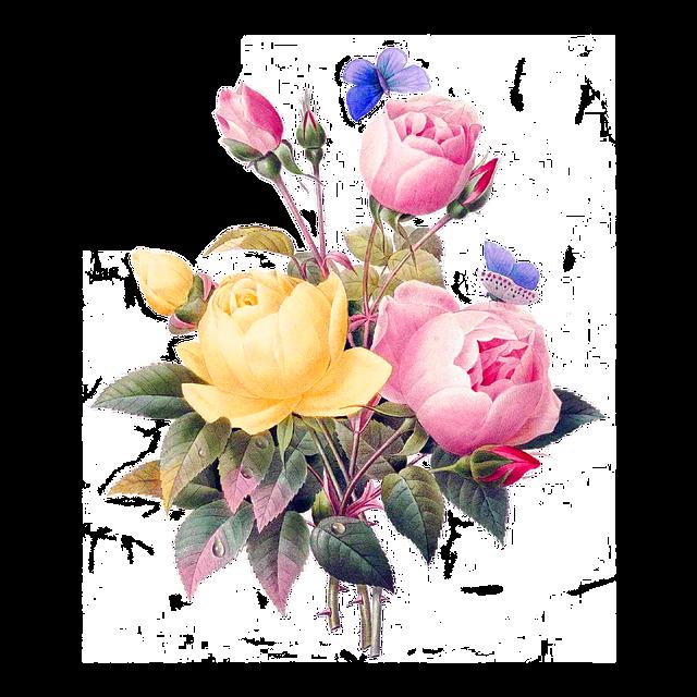 Flowers, Vintage, Cutout, Cut Out, Backless, Bouquet