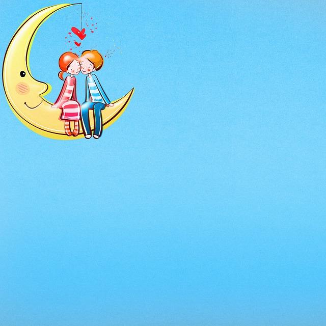 Digital Paper, Lovers In Moon, Cute, Paper, Background