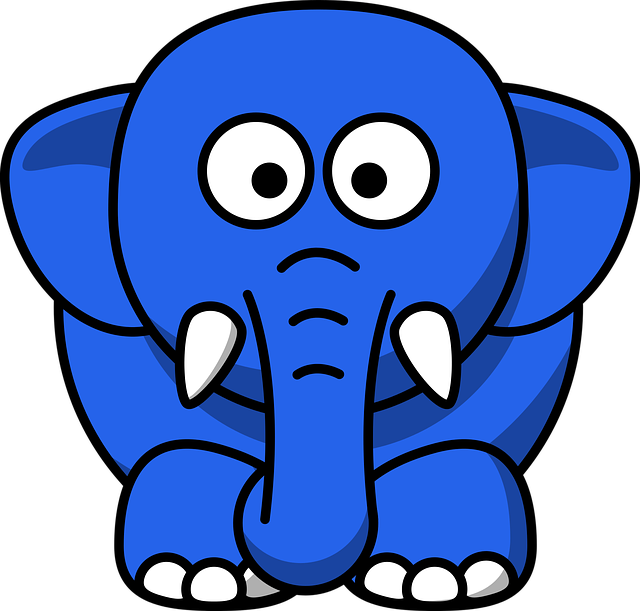 Elephant, Animal, Blue, Mammal, Baby, Cute, Nose
