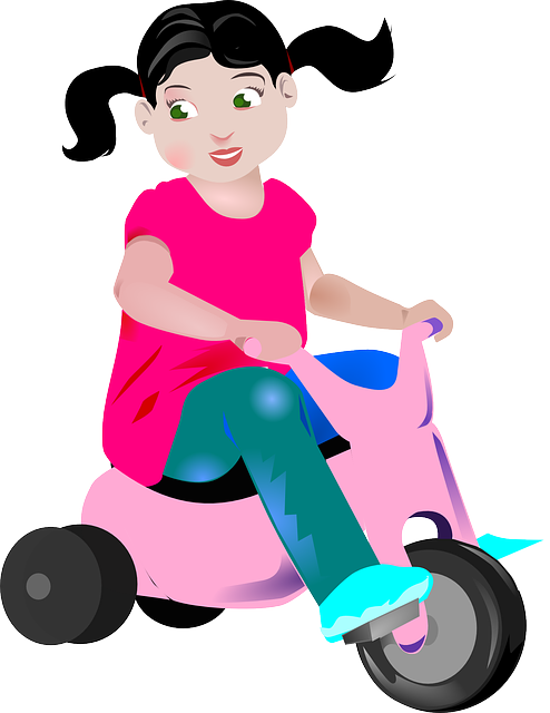 Girl, Tricycle, Ponytails, Child, Bike, Young, Cute