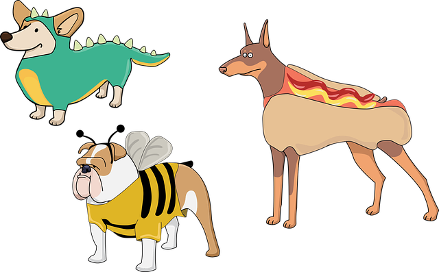 Dog, Puppies, Costume, Dinosaur, Hot Dog, Bee, Cute