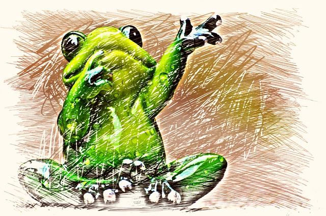 Frog, Wave, Drawing, Colorful, Farewell, Funny, Cute