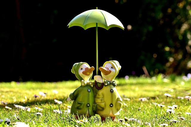Ducks, Figures, Parasol, Funny, Cute, Decoration