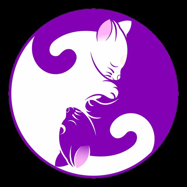 Cat, Yin Yang, Kitten, Symbol, Purple, Yin, Yang, Cute