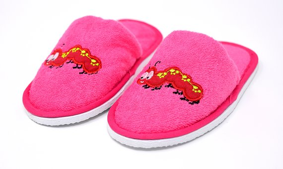Slippers, Children, Funny, Cute, Meadow, Motive, Pink
