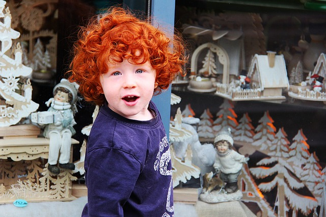Cute, Adorable, Red, Hair, Kid, Children, Old City