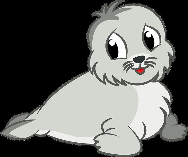 Animal, Baby, Cartoon, Cute, Sea, Seal