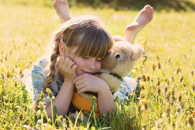 Girl, Teddy Bear, Snuggle, Cute, Kids, Young, Joy