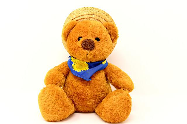 Teddy, Stuffed Animal, Hat, Straw Hat, Teddy Bear, Cute