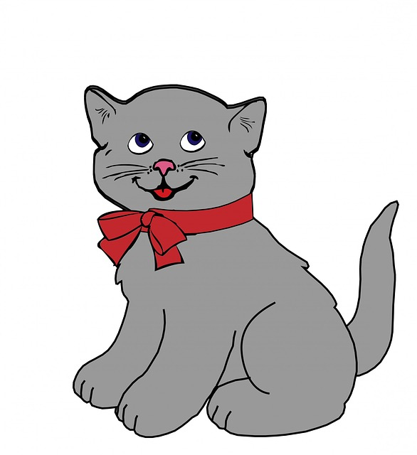 Kitten, Cat, Vintage, Grey, Gray, Red, Bow, Cute, Art