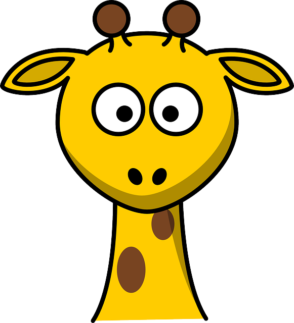 Giraffe, Head, Young, Cartoon, Cute, Looking, Zoo