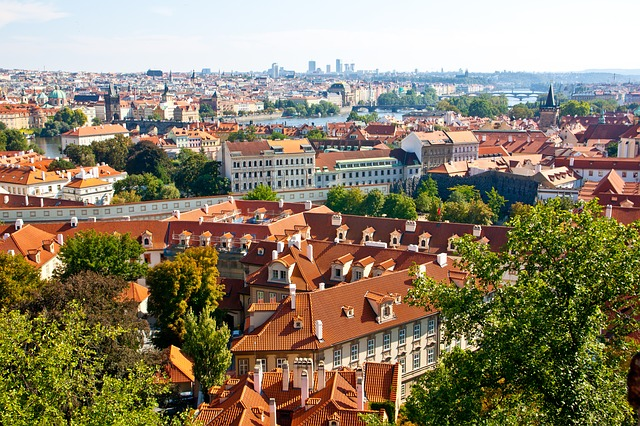 Czech Republic, Prague, Old Town, View From Above, Roof