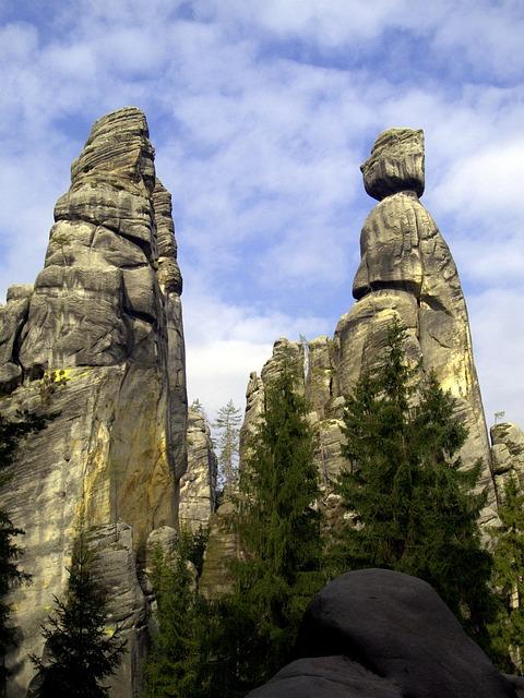 Adršpach, Rocks, The Sky, Trees, Czech