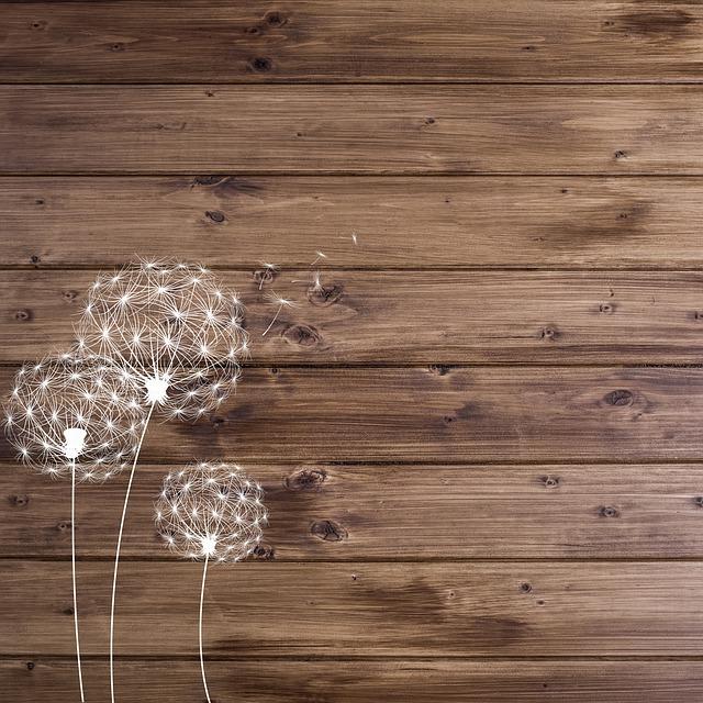 Wood Digital Paper, Dandelions, Wood Background, D