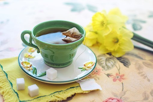 Tea, Morning, Green, Yellow, Daffodils, Cup, Flowers