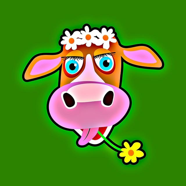 Cow, Animal, Mammal, Face, Cartoon, Head, Cute, Dairy