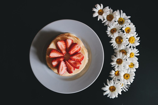 Black Table, Daisies, Daisy, Food, Pancake, Pancakes