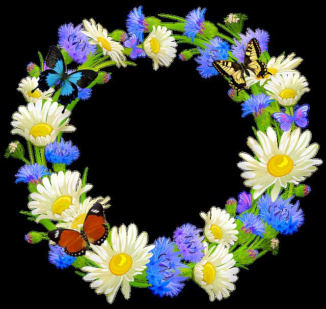 Flower Wreath, Butterflies, Daisy, Easter, Flower