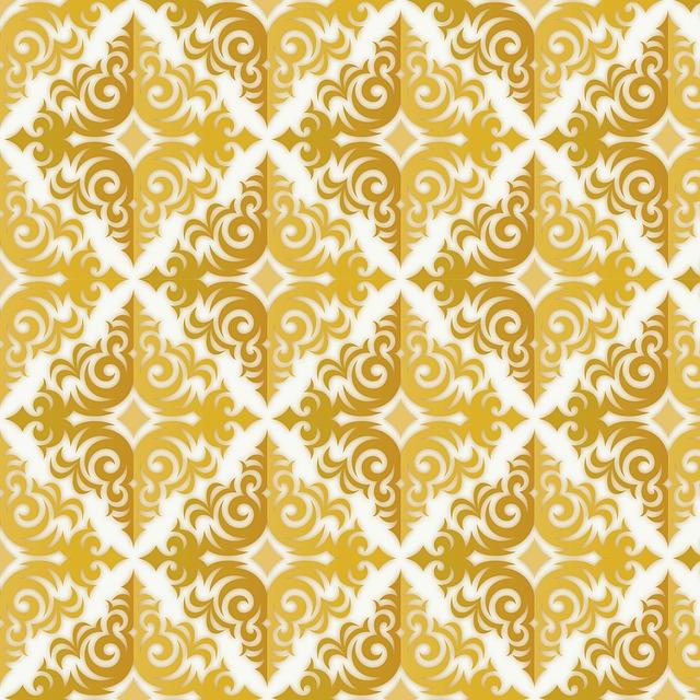Gold Pattern Wallpaper Fleur Damask Girly Chic