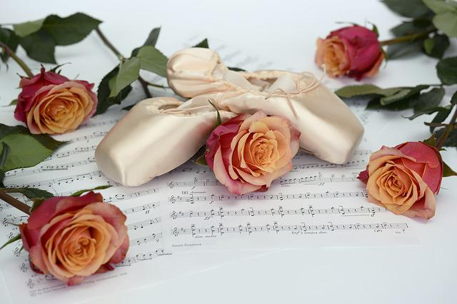 Ballet Shoes, Dance, Roses, Flowers, Sheet Music