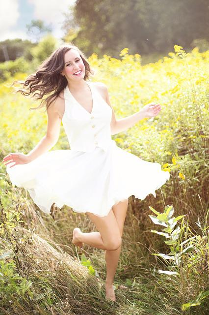 Girl, Happy, Laughing, Dancing, Nature, Pretty