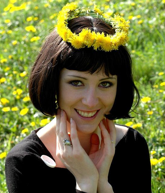 Easter, Portrait, Girl, View, Dandelion, Meadow
