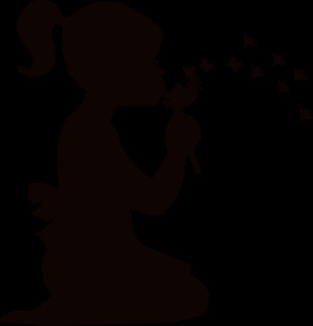 Blowing, Child, Dandelions, Dispersing, Female, Girl
