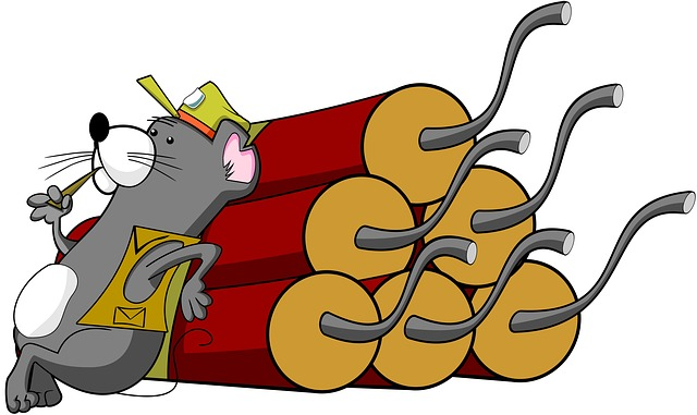 Mouse, Dynamite, Cartoon, Animal, Rodent, Bomb, Danger