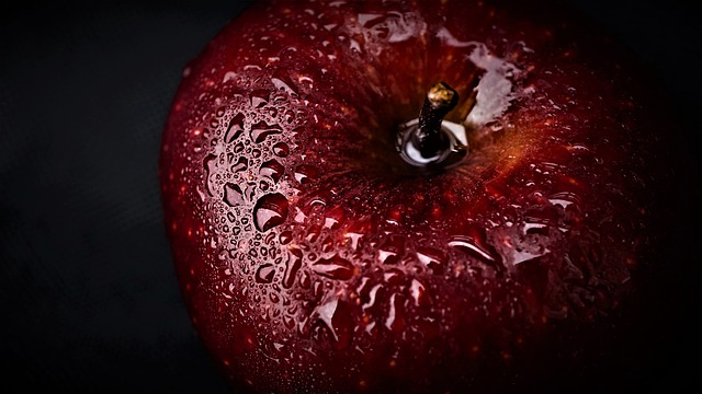 Apple, Black Background, Red, Dark, Water