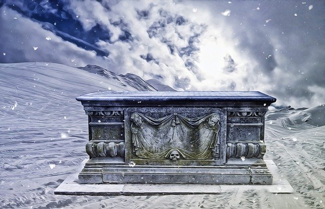 Gothic, Fantasy, Dark, Tomb, Snow, Gothic Landscape