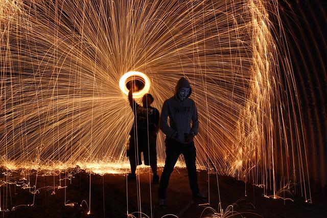 Steelwool, Firespin, Art, People, Dark, Night, Style