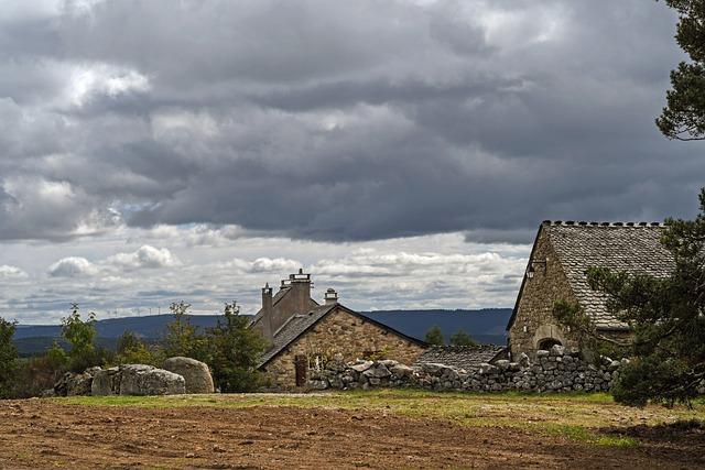 Landscape, Sky, Grey, Cloud, Dark, Storm, House, Pierre