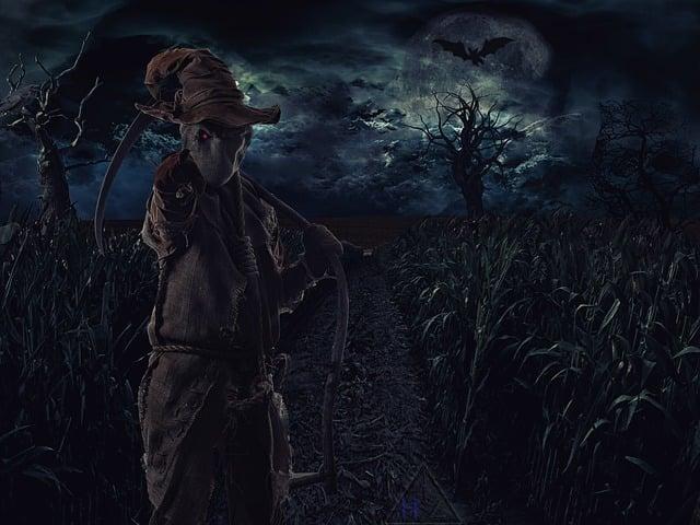 Straw Man, Scare, Fantasy, Dark, Mood, Night, Mystical