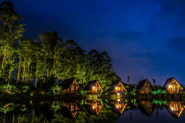 Dark, Huts, Lake, Lights, Nature, Night, Reflection