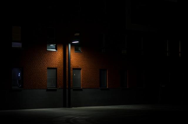 Dark, Night, Alley, Street, Lamp, Post, Architecture