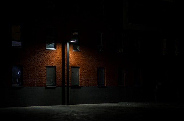 Dark, Night, Alley, Street, Lamp, Post, Architecture