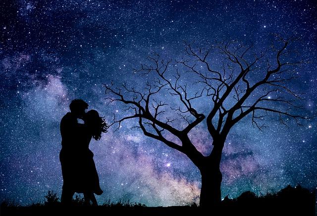 Night, Astronomy, Sky, Couple, In Love, Dark, Universe